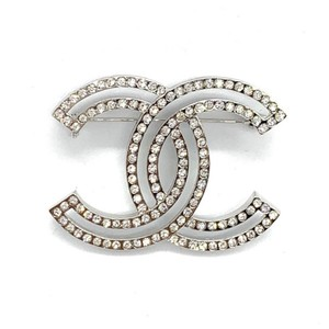 Chanel Silver Double Lined Rhinestone CC Coco Brooch