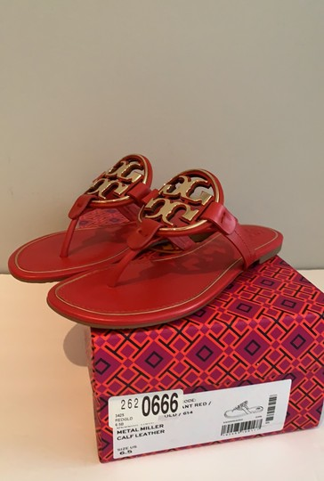 Tory Burch Brilliant Red/Gold Sandals Image 4