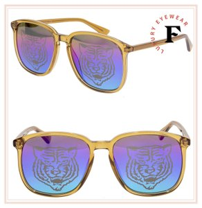 Gucci GUCCI 0265 Orange Amber Square TIGER Iridium Mirrored GG0265S