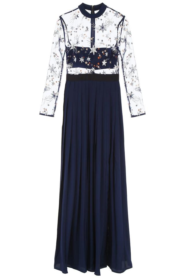 Self Portrait Navy Star Embroidered Pleated Gown Long Formal Dress Size 4 S 45 Off Retail