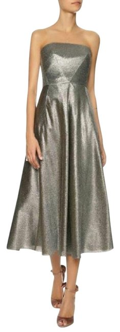 Cédric Charlier Silver Lame Metallic Strapless Seamed 8/10 Mid-length Formal Dress Size 10 (M) Cédric Charlier Silver Lame Metallic Strapless Seamed 8/10 Mid-length Formal Dress Size 10 (M) Image 1