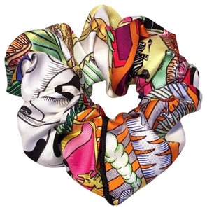 Hermès Hermes Handmade Vintage Silk Scarf Scrunchie in Light Multicolor Print