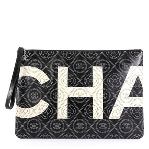 Chanel Wristlet Canvas black and white Clutch