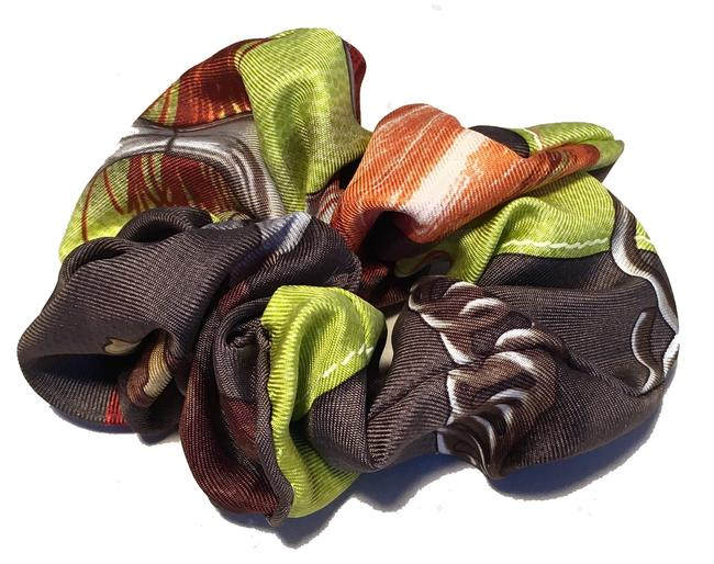 Item - Green Handmade Projets Carres Silk Scarf Scrunchie In Hair Accessory