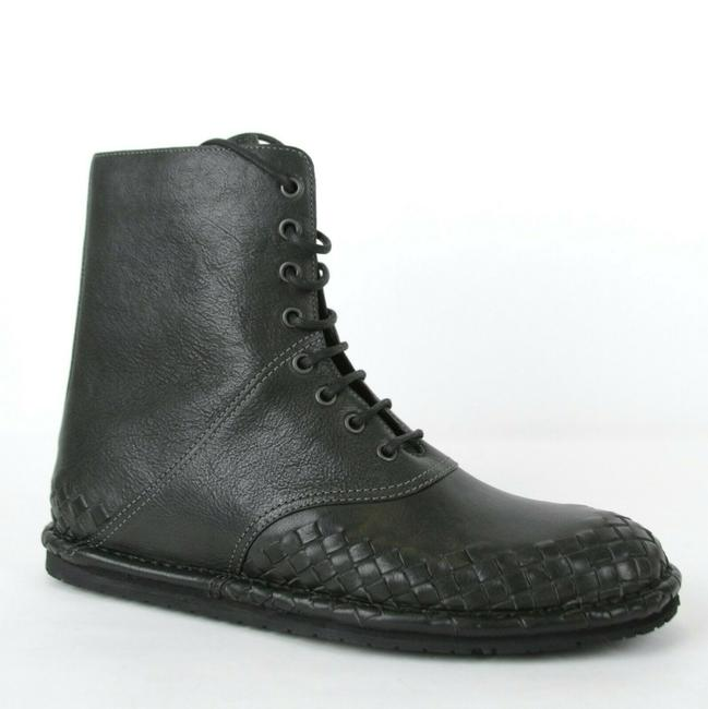 Item - Dark Gray Men's Leather Woven Boots Eu 40.5/Us 7.5 456529 2015 Shoes