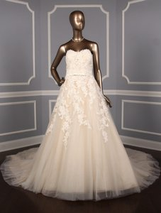 Pronovias Off White W/Beige Lining Lace Tulle and Organza Trey Formal Wedding Dress Size 18 (XL, Plus 0x)