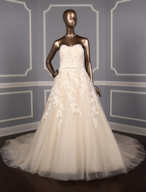 Item - Off White W/Beige Lining Lace Tulle and Organza Trey Formal Wedding Dress Size 18 (XL, Plus 0x)
