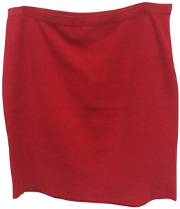 Adrienne Vittadini Stretchy Knit Cotton Skirt Red