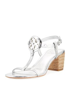 Tory Burch tan and silver Sandals