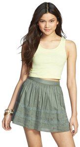 Rubbish Stretchy Knit Lace Lined Pleated Mini Skirt Sage Green