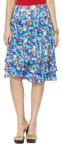 Ralph Lauren Floral A-line Tiered Ruffled Skirt Blue