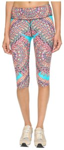 Mara Hoffman ACTIVE SKYBIRD TURQUOISE FEATHER PRINT CROPPED LEGGINGS CAPRI XS