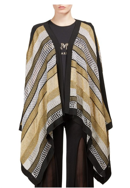 Item - Gold Black Silver Open Knit Sweater Coat Poncho/Cape Size 6 (S)