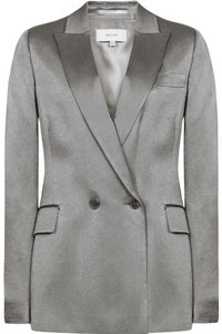 Reiss Satin Double Breasted Jacket Silver Blazer