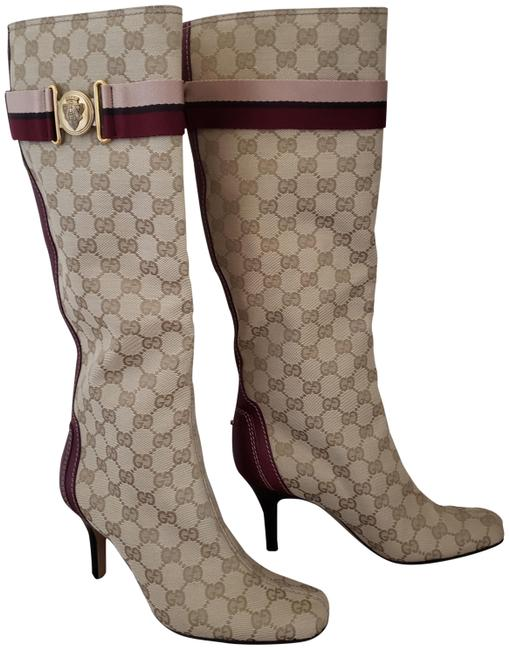 Item - Beige Gg Web Canvas Square-toe Knee-high Boots/Booties Size EU 37.5 (Approx. US 7.5) Wide (C, D)