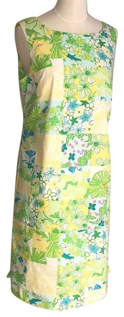 Item - Green/Blue Sheath Sundress Mid-length Short Casual Dress Size 6 (S)