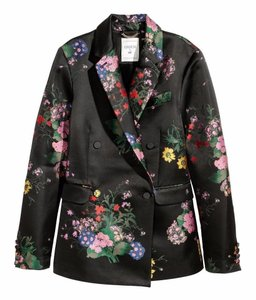 ERDEM x H&M Satin Jacquard Floral Double Breasted Black Blazer