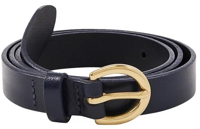 """Item - Navy Wide Leather Trouser Size S(38"""") Belt"""