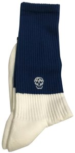 Alexander McQueen Skull Intarsia Ribbed Cotton Sock