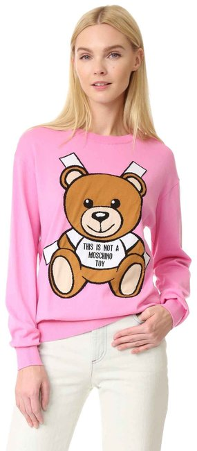 Preload https://img-static.tradesy.com/item/25708240/moschino-couture-bear-print-long-sleeve-pink-sweater-0-3-650-650.jpg