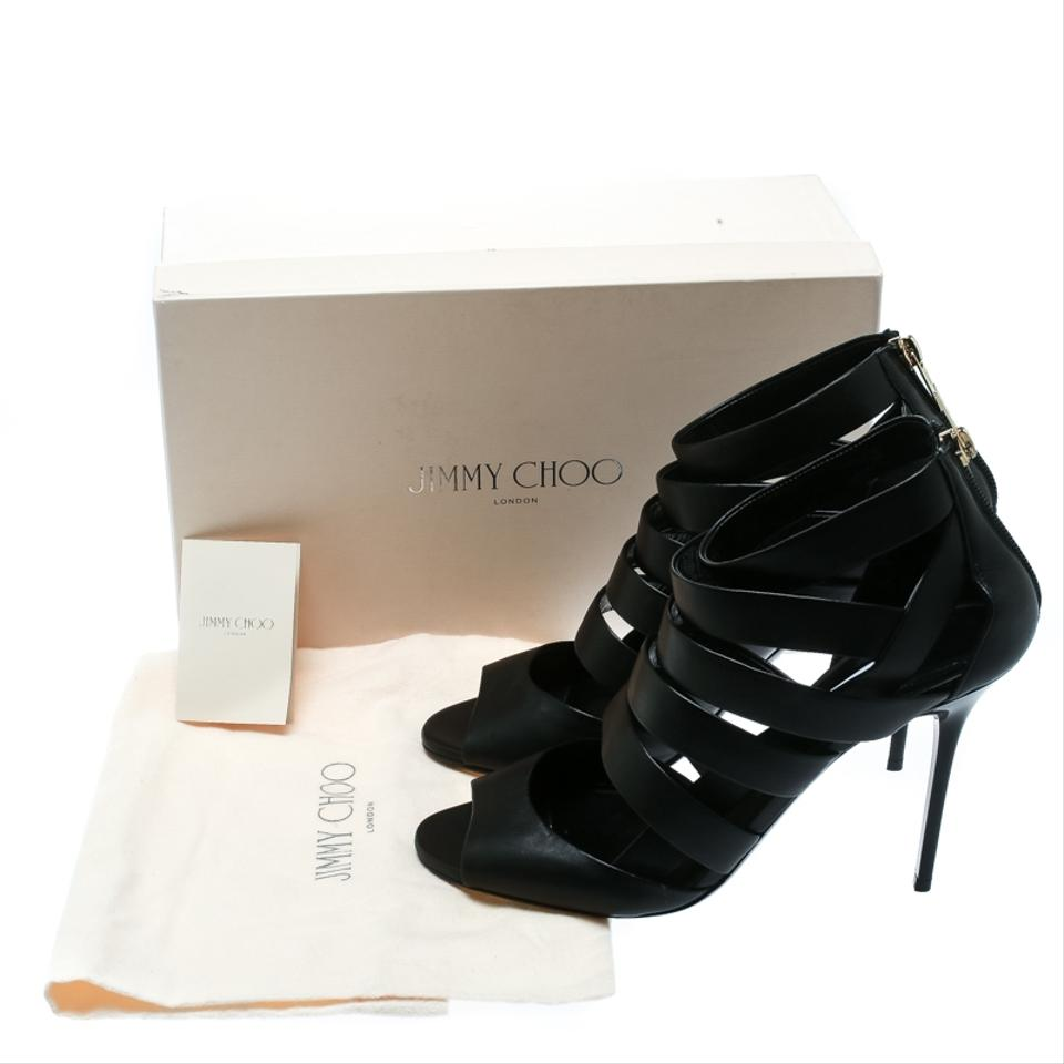 51d0ed9f6097 Jimmy Choo Black Leather Dame Caged Sandals Size EU 40 (Approx. US ...