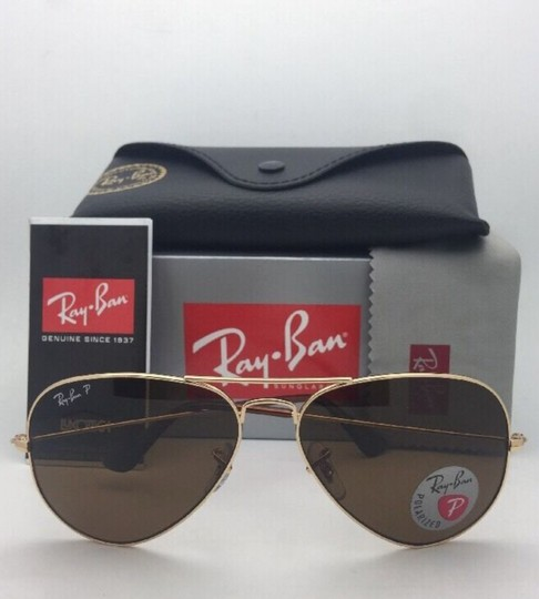 Ray-Ban Polarized RAY-BAN Sunglasses LARGE METAL RB 3025 001/57 55-14 140 Gold Image 1