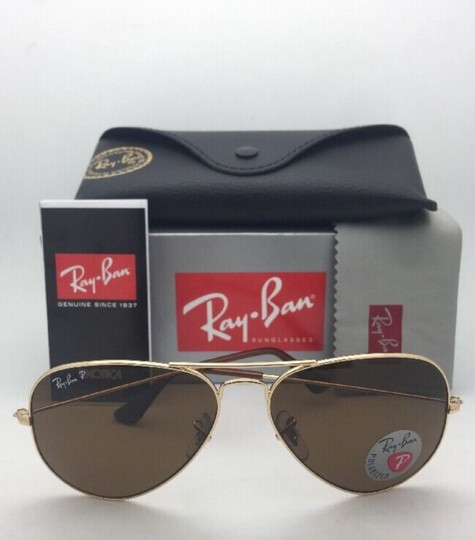 Ray-Ban Polarized RAY-BAN Sunglasses LARGE METAL RB 3025 001/57 55-14 140 Gold Image 2