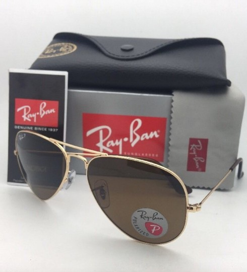 Ray-Ban Polarized RAY-BAN Sunglasses LARGE METAL RB 3025 001/57 55-14 140 Gold Image 4