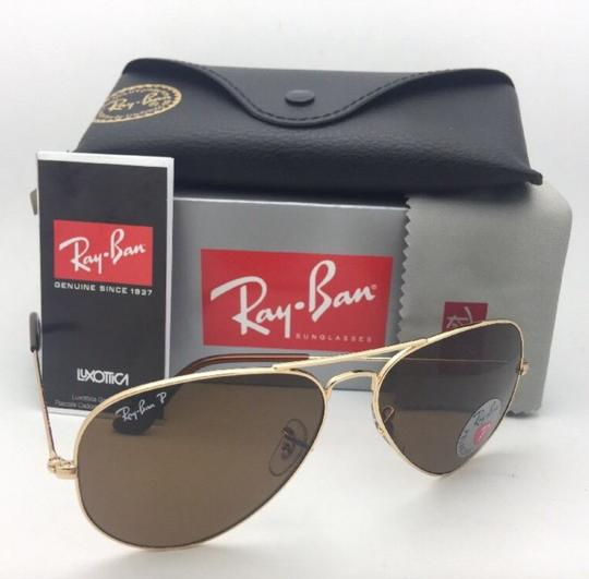 Ray-Ban Polarized RAY-BAN Sunglasses LARGE METAL RB 3025 001/57 55-14 140 Gold Image 5