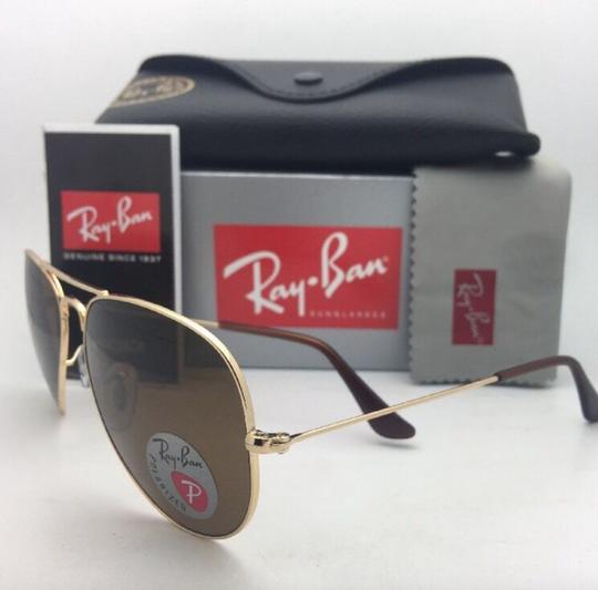Ray-Ban Polarized RAY-BAN Sunglasses LARGE METAL RB 3025 001/57 55-14 140 Gold Image 6
