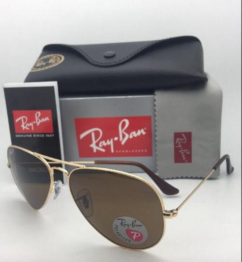 Ray-Ban Polarized RAY-BAN Sunglasses LARGE METAL RB 3025 001/57 55-14 140 Gold Image 9