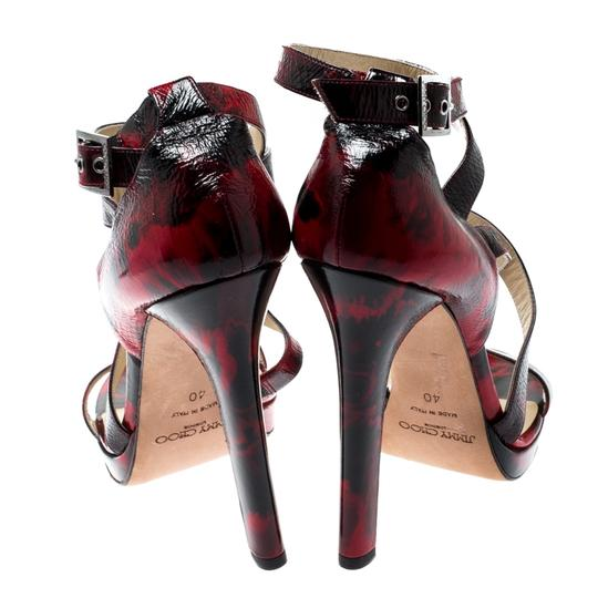 Jimmy Choo Patent Leather Crisscross Strap Red Sandals Image 2