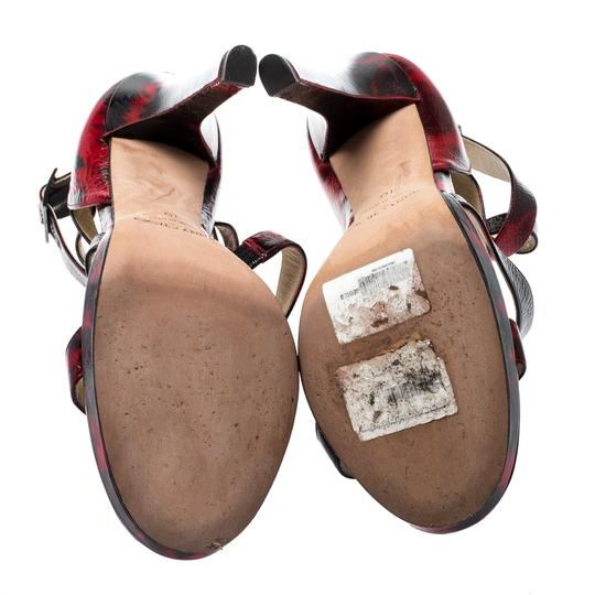 Jimmy Choo Patent Leather Crisscross Strap Red Sandals Image 3