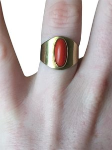 Vintage Solid 14k Yellow Gold HEAVY Wide Vintage Coral Ring Size 7