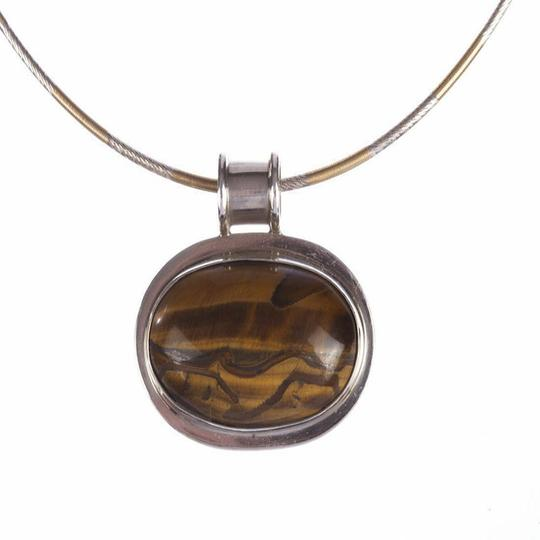 9.2.5 Sterling Silver and Orange Tiger Eye Cabochon Necklace Image 1