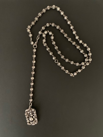 King Baby Sterling Silver Necklace with Skulls - Long Rosary Image 1