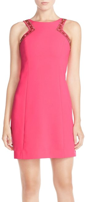 Preload https://img-static.tradesy.com/item/25708676/lilly-pulitzer-hot-pink-new-glass-beaded-embellishment-shift-short-workoffice-dress-size-4-s-0-1-650-650.jpg