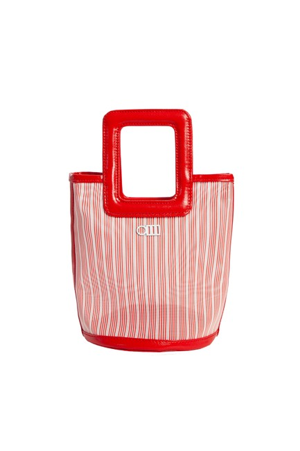 Item - The Pookie Mini Tote - Mesh Red and White Canvas Beach Bag