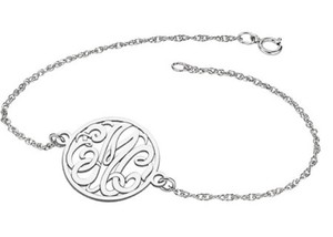 Apples of Gold CUSTOM SCRIPT MONOGRAM LINK BRACELET IN WHITE GOLD