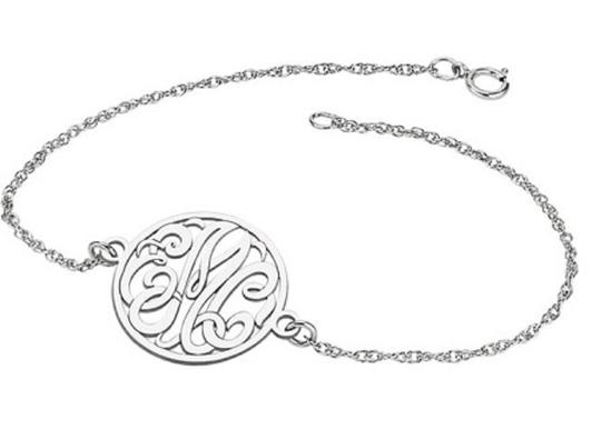 Apples of Gold CUSTOM SCRIPT MONOGRAM LINK BRACELET IN WHITE GOLD Image 1