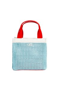 Solid & Striped Tote Faux Leather Woven Sky Beach Bag