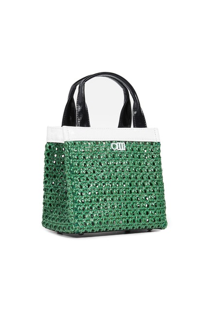Item - The Louisa Woven Mini Tote - Green Faux Leather Beach Bag