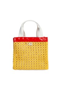 Solid & Striped Tote Faux Leather Woven Yellow Beach Bag
