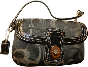 Coach Legacy Signature Wallet Clutch Cell Phone Wallet New Wristlet in Black- White- Grey- Silver