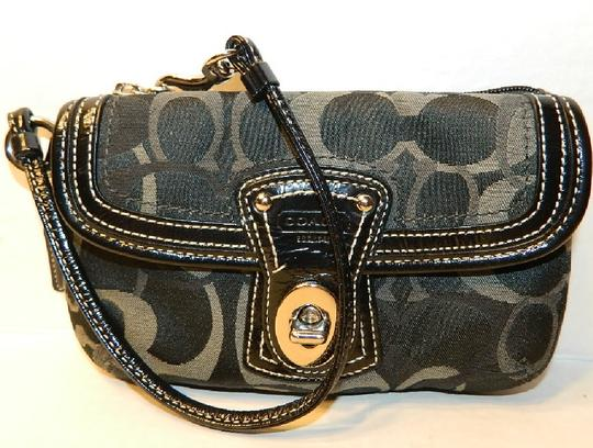 Coach Legacy Signature Wallet Clutch Cell Phone Wallet New Wristlet in Black- White- Grey- Silver Image 5