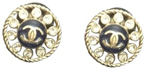 Chanel CC Resin & Crystal Stud Earrings
