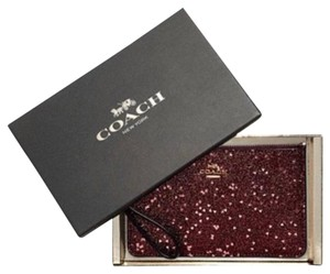 Coach Pouch Purse Case Iphone Android Travel Gift Wallet Makeup Card Cash Handbag Clutch Wristlet in red/pink/gold