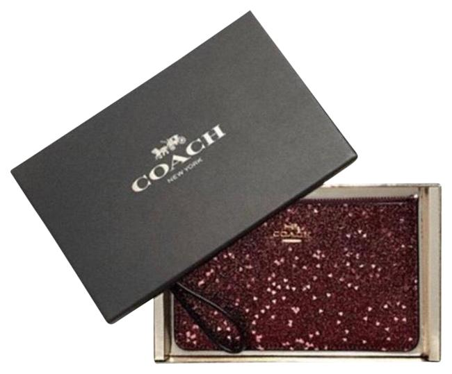 Coach Corner Zip Heart Glitter Red/Pink/Gold Leather Wristlet Coach Corner Zip Heart Glitter Red/Pink/Gold Leather Wristlet Image 1