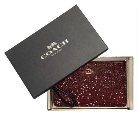 Coach Pouch Purse Case Iphone Android Travel Gift Wallet Makeup Card Cash Handbag Clutch Wristlet in red/pink/gold Image 1