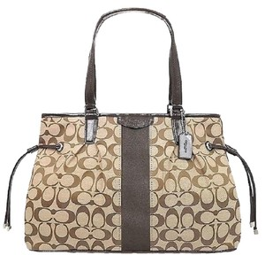 Coach New Large Satchel Coachella Tote in Khaki- Brown- Mahogany- Gold